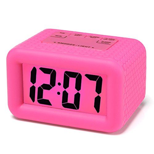 - Easy Setting, Plumeet Digital Alarm Clock with Snooze and Nightlight Function, Large LCD Display Travel Alarm Clock Easy to Use, Ascending Sound Alarm & Handheld Sized, Batteries Powered (Hot Pink)