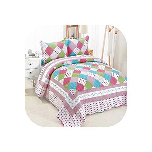 YY Cherry Queen Size Luxury Patchwork Quilted Bedspreads Cotton Quilts Set Modern Plaid Lightweight Summer Bedspreads,Orange,3-Piece 230X250Cm