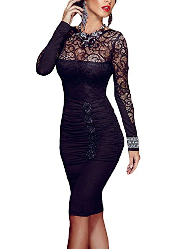 lace detail ruched dress - 9