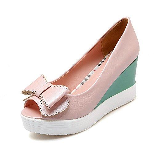 Women's Toe Heels On AgooLar Peep Material Sandals Pink Soft High Solid Pull dHBwBnEq