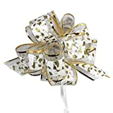 """Allgala 12-pc 6"""" Large Everyday Pull Bows, White with Gold spot"""