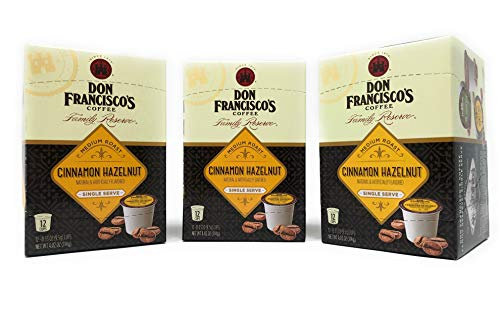 (Don Franciscos Coffee Cinnamon Hazelnut K Cups Family Reserve - 36 Total K Cups - Nutty Flavor with a Sweet Scent of Cinnamon - Medium Roast (Cinnamon Hazelnut (36 K Cups)))