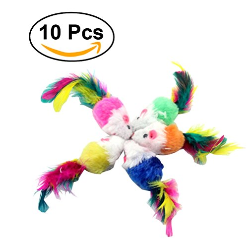 Furry Mouse Toy (UEETEK 10 PCS Furry Pet Toys Mice Cat Toy Mouse Cat Catcher Toys with Feather Tails(Random Color))