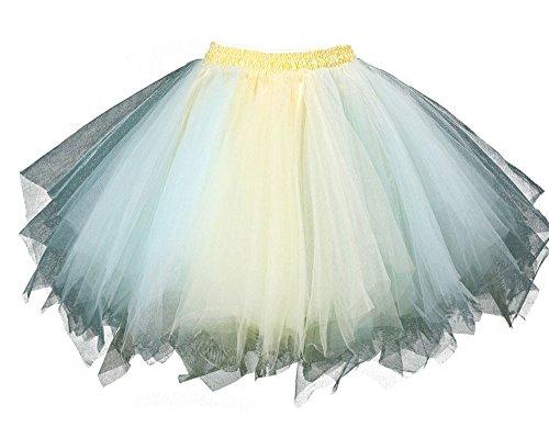 MsJune Women's 1950s Vintage Petticoats Crinolines Bubble Tutu Dance Half Slip Skirt Light Blue & Yellow-S/M