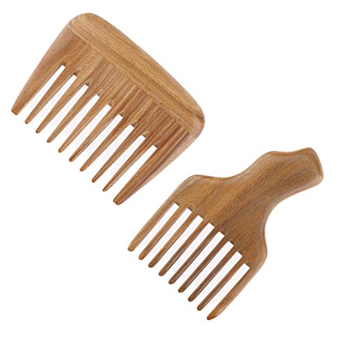 (Flameer Pack of 2 Styling Comb No Static Wooden Hairbrush for Short/Long/Curly/Fluffy/Straight Hair)