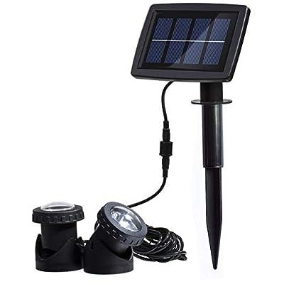 AVEKI Solar Pond Spotlights, 12 LED Solar Underwater Lights with Dual Head Waterproof Submarine Landscape Spotlight Security Lighting for Outdoor Patio Ganden Fountain Pond