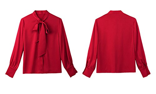Tops N Mousseline Femme et Automne Couleur Bureau Longues Manches Chemisiers Casual Shirt de Papillon Haut Chemises Blouse Blouses Rouge Printemps Unie ud avec Fashion pwXv4xnw