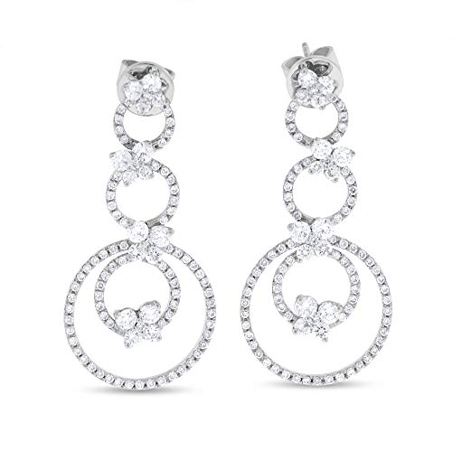2.08 Ct. Natural Diamond Circle Drop Dangling Earrings Butterfly in Solid 18k White Gold