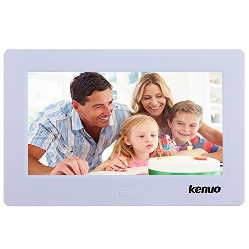 Digital Photo Frame 7 inch,Kenuo High HD 1024×600(16:9) Eletronic Picture Frame with Video Player Stereo MP3 Calendar Auto On/Off Timer – White
