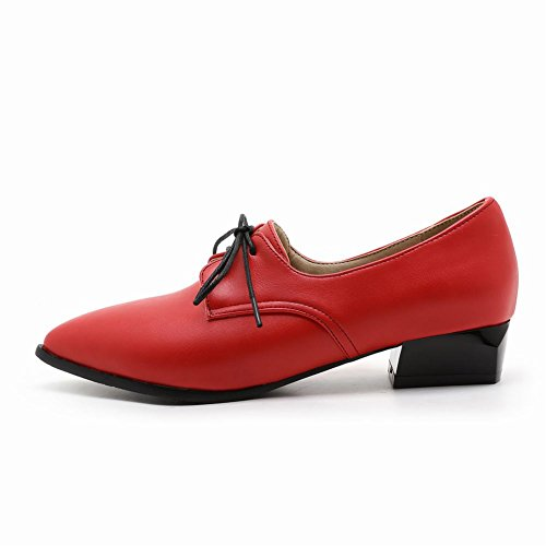 Oxfords Up Women's Toe Point Shine Casual Show Shoes Lacing Red 5qIxRwOAA0