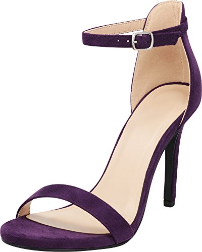 (Cambridge Select Women's Open Toe Single Band Buckle Thin Ankle Strappy Stiletto High Heel Dress Sandal,8 B(M) US,Deep Purple IMSU)
