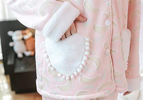 Algodón Cárdigan Lindo Manga Invierno Grueso De Pink Dulce Casero Femenino Mmllse Larga Conjunto Casual Pijama wfTZqYnRR
