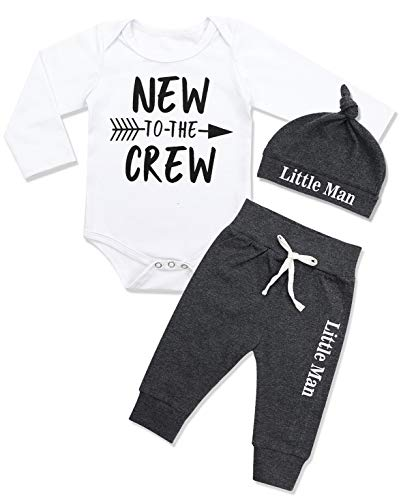 (Newborn Baby Boy Clothes New to The Crew Letter Print Romper+Long Pants+Hat 3PCS Outfits Set 0-3 Months)