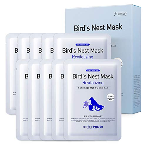 MOTHER MADE Revitalizing Bird's Nest Face Mask (Pack of 10) 100% Cotton Cupra Sheet Mask with Collagen, Peptides and Swiftlet Nest Extract 5,000ppm to Reduce The Appearance of Fine Lines, Wrinkles