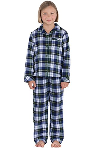 - PajamaGram Tartan Flannel Classic Plaid Button-Front Pajamas, Green, Big Girls 6