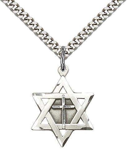 Sterling Silver Star of David W/ Cross Pendant with 24