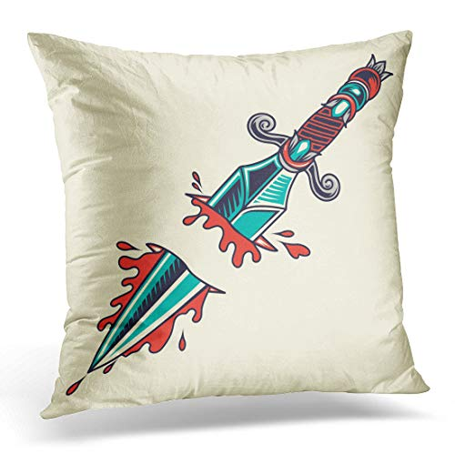 Emvency Throw Pillow Cover Sword Traditional Old School Dagger Tattoo Stab Ink Retro Decorative Pillow Case Home Decor Square 18quot x 18quot Pillowcase