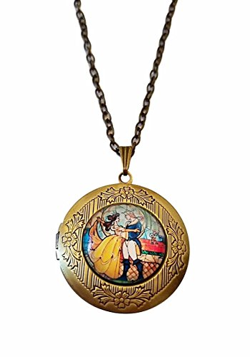 Beauty and The Beast Glass Domed Pendant Locket Necklace