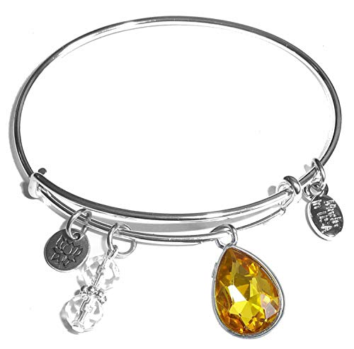 - Hidden Hollow Beads Message Charm (84 Options) Expandable Wire Bangle Women's Bracelet, in The Popular Style, Comes in A Gift Box! (Birthstone November)
