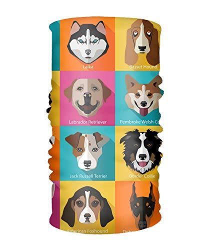Headband Set Of Flat Dogs Icons Sweatband Tube Mask for Riding, Off Roader, Biker, -