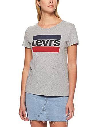 Levi's Women's The Perfect Tee Sportswear Logo, Smokestack Heather, M - Grey