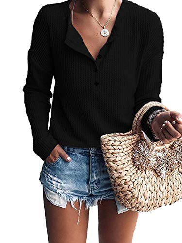 - GOLDSTITCH Women's Knit Tunic Tops Loose Long Sleeve Button Up V Neck Henley Shirts Black