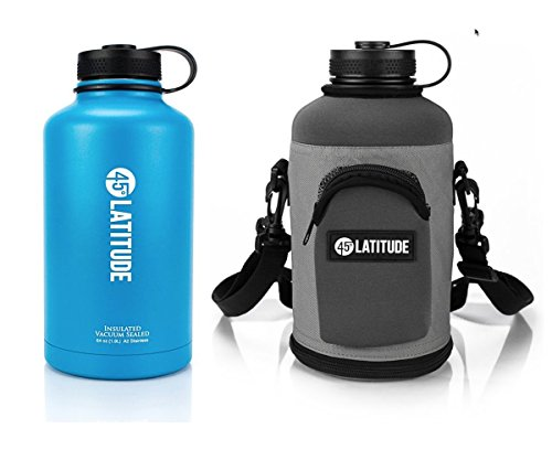 45 Degree Latitude Beer Growler & Protective Carrier Tote Package –Fill Your Growler At Your Favorite Pub & Effortless Carry It With Our Carrying Case Stainless Steel Growler 64 oz Cayman Blue & Gray (Beer Growler Carrier)