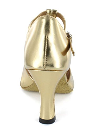 Tda Kvinna T-bälte Comfort Peep Toe Pu Läder Salsa Tango Balsal Latin Modern Dans Bröllop Skor Guld