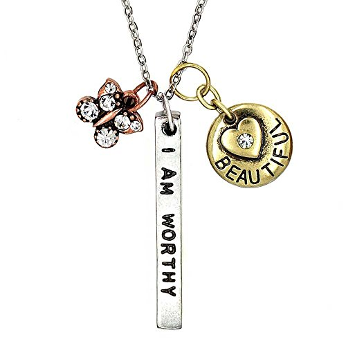 - KIS-Jewelry Simple Truths 'I Am Worthy I Am Strong' Pendant Necklace - Three Tone Charm Necklace with Tiny Crystal Butterfly and Simple Heart - Great Sports Fan Pendant Gift