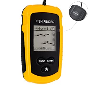 Venterior Portable Fish Finder, Fishfinder with Wired Sonar Sensor Transducer and LCD Display