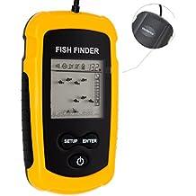 venterior alámbrico Fish Finder visualización LCD portátil Sonar Sensor Fishfinder Alarma transductor Fishfinder