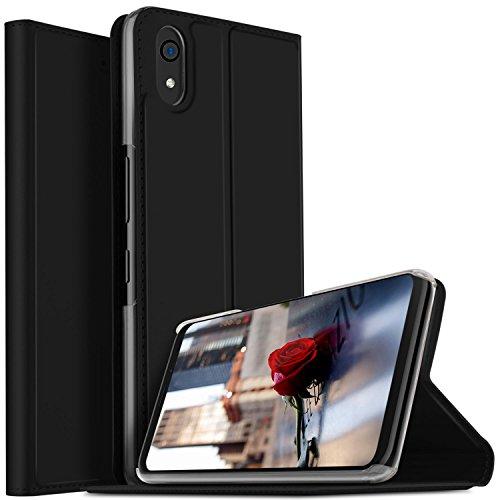 投げ捨てるみがきますルームQua phone QZ kyv44 ケース KuGi au Qua phone QZ kyv44 カバー スタンド機能付き 手帳型ケース 横開き 耐衝撃 PUレザー カバー スマートフォンケース Qua phone QZ kyv44 携帯全面保護カバー 本体の傷つきガード ブラック