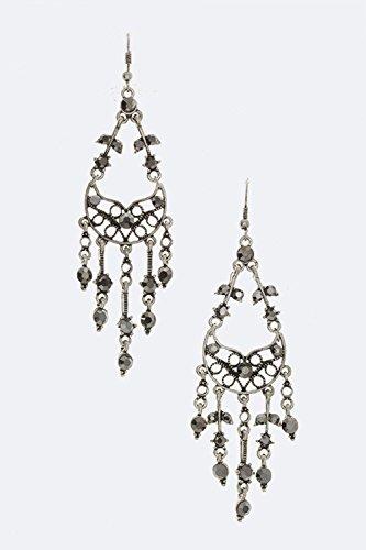 Karmas Canvas Crystal Chandelier Earrings (Trifari Hematite Earrings)