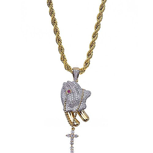 - TOPGRILLZ Men 14K Gold Plated Iced Out CZ Simulated Diamond Big Stones Crown Jesus Piece, Pharaoh,Prayer Hand Cross Pendant Necklace with Stainless Steel Chain Hip Hop (Prayer Hand)