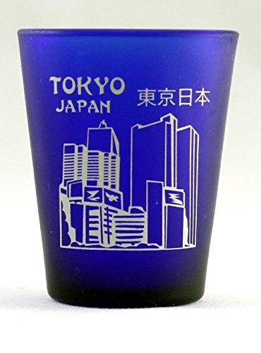 Tokyo Japan Cobalt Blue Frosted Shot Glass