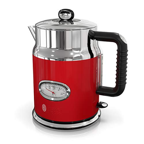 (Russell Hobbs Retro Style 1.7L Electric Kettle, Red & Stainless Steel, KE5550RDR)