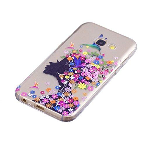 GZXiXi Funda Samsung Galaxy A5 2017 SM-A520F Carcasa Transparente Silicona Soft Silicone Cover Bumper Funda Protectora Carcasa Blanda Caso Suave Flexible Caja Delgado Ligero Casco Anti Rasguños Anti C Niña de las flores