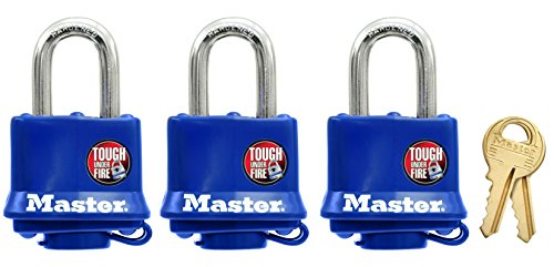 Master Lock 312TRI Laminated Padlocks with Blue Thermoplastic Shell, 1-9/16-inch, 3-Pack (Laminated Weatherproof Master Lock Padlock)