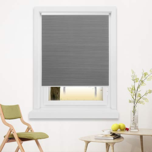 Blackout Cellular Blinds Cordless Shade Honeycomb Shades Window Fabric Blinds Grey-White, 23x64 inch