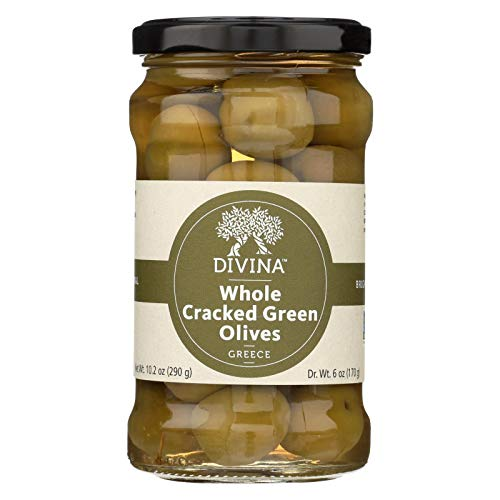Divina Cracked Green Olives - Case of 6 - 6.14 oz.