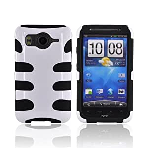 White on Black Hard Rubberized Fishbone on Silicone Case Cover For HTC Inspire 4G