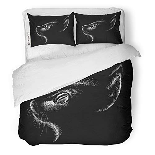 Emvency 3 Piece Duvet Cover Set Brushed Microfiber Fabric Breathable Graphic The Cat Outwear Halloween Abstract Animal Bedding Set with 2 Pillow Covers Full/Queen Size