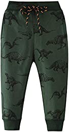 Boys Cartoon Print Monkey Dinosaur Camouflage Pattern Cotton Pants Drawstring Elastic Sweatpants