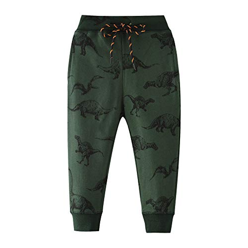 HUAER& Boys Cartoon Print Monkey Dinosaur Camouflage Pattern Cotton Pants Drawstring Elastic Sweatpants (5T(height100-110cm/38-42inch), Dark Green & Dinosaur)