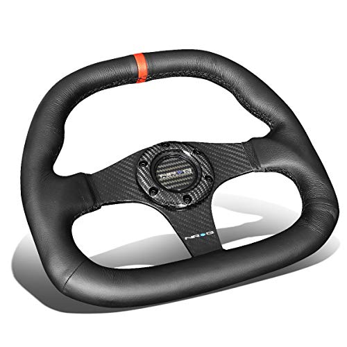 NRG Innovations ST-019CF-R 320mm Carbon Fiber Leather Red Stripe Steering Wheel Flat Bottom ()