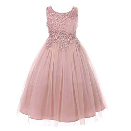 Cinderella Couture Big Girls Dusty Rose Pearl Bead Coiled Lace Tulle Junior Bridesmaid Dress 10 from Cinderella Couture