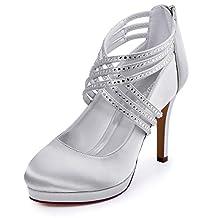 ElegantPark EP11085-PF Women Platform High Heel Closed Toe Cross Strap Rhinestones Satin Evening Party Shoes