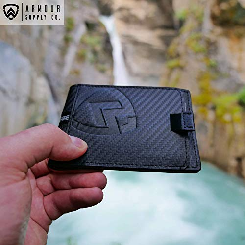 Carbon Bifold Leather Slim Includes amp; For RFID Key Armour Wallet Multitool Minimalist Holder Fiber Wallets Men 8UzqYw