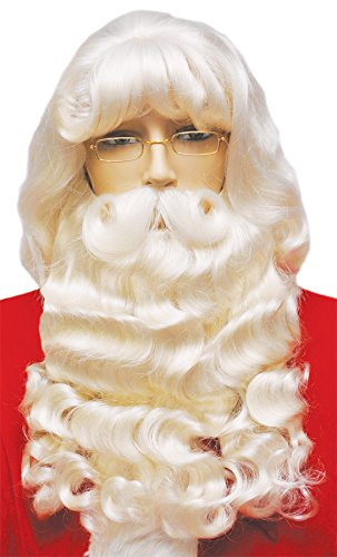 UHC Supreme Santa Wig & Beard Set Mustache Christmas Costume Accessory
