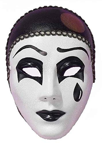 Forum Pierrot Mask, White/Black, One Size -